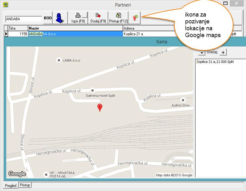 LOKACIJA PARTNERA GOOGLE MAPS